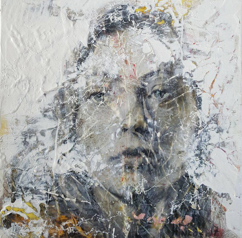 Oil, acrylic, pigment on canvas, 30x30cm, 2017