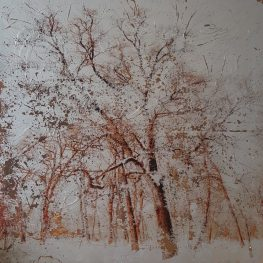 Mixed technique - acrylic, oil, pigment, oil pastel, silk threads. 90x90 cm