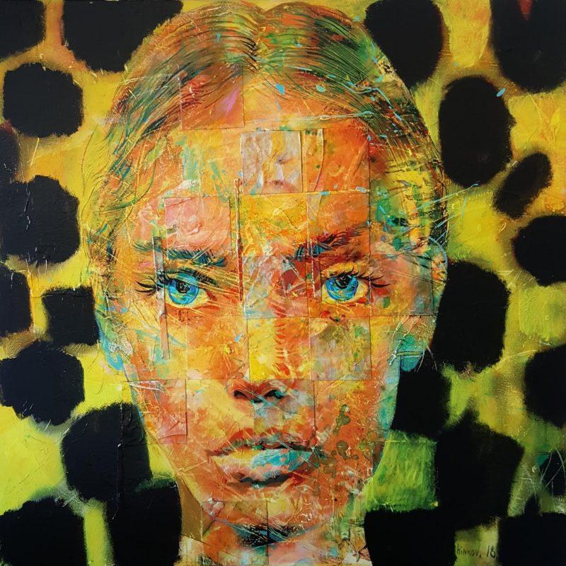 Mixed technique on canvas (oil, acrylic, pigment), 90x90 cm