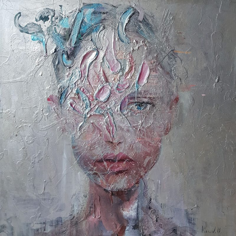 Mixed technique on canvas (oil, acrylic, pigment), 90x90 cm. AVAILABLE