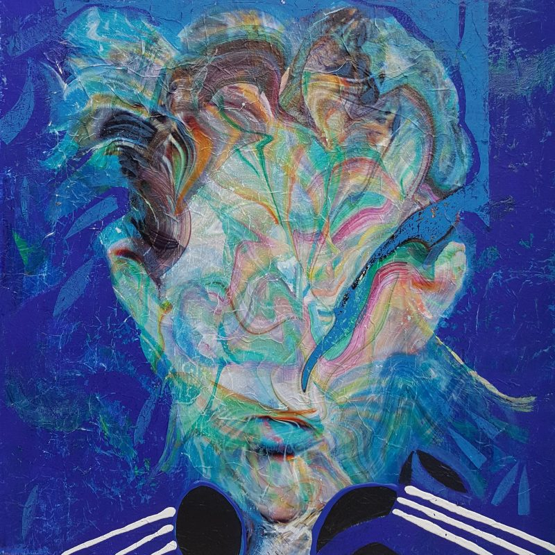 Self portrait Adidas. Mixed technique on canvas (oil, acrylic, pigment), 60x60 cm. 2019. AVAILABLE