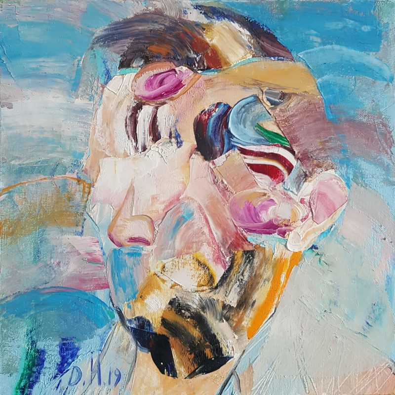Self portrait after Van Gogh, oil on canvas, 30x30 cm, 2019. AVAILABLE